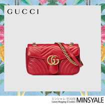 GUCCI GG Marmont Hibiscus Red Leather Small GG Marmont Flap Shoulder Bag