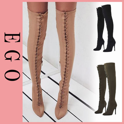 Plain Pin Heels Elegant Style Over-the-Knee Boots