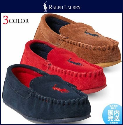 Ralph Lauren Moccasin Round Toe Casual Style Suede Flats