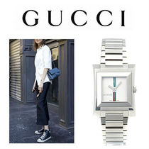 GUCCI Casual Style Square Quartz Watches Stainless Analog Watches