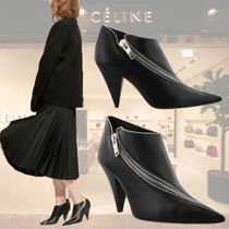 CELINE Zipped Plain Leather Elegant Style Ankle & Booties Boots