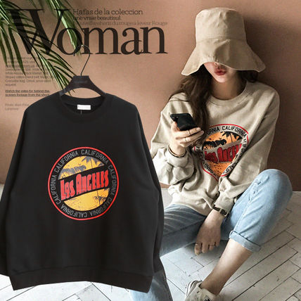 NANING9 Short Casual Style U-Neck Long Sleeves Cotton Oversized