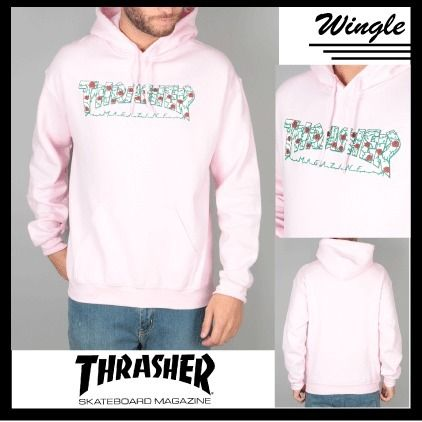 THRASHER Hoodies Long Sleeves Plain Cotton Hoodies