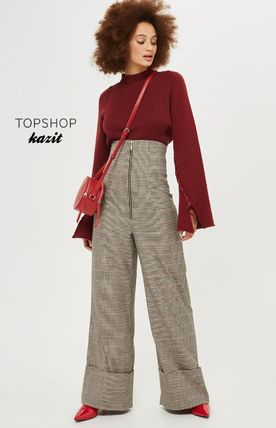 TOPSHOP Other Check Patterns Casual Style Pants