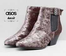 ASOS Casual Style Velvet Block Heels Ankle & Booties Boots