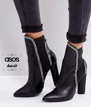 ASOS Casual Style Faux Fur Chain Block Heels