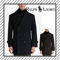 Ralph Lauren Wool Plain Long Peacoats Coats
