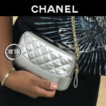 CHANEL Chain Plain Leather Elegant Style Shoulder Bags