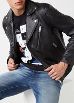 DIESEL Plain Leather Biker Jackets