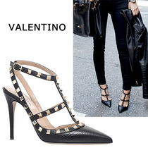 VALENTINO Studded Plain Leather High Heel Pumps & Mules