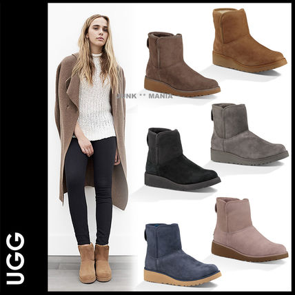 Casual Style Sheepskin Plain Wedge Boots