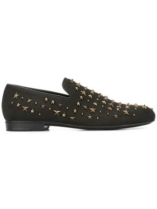 Jimmy Choo Studded Plain Leather Loafers & Slip-ons