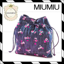 MiuMiu Flower Patterns Casual Style Purses Bags