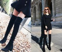Suede Plain Block Heels Elegant Style Over-the-Knee Boots