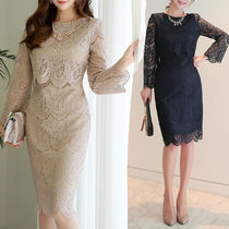 Flower Patterns Long Sleeves Medium Party Style Lace Dresses