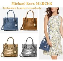 Michael Kors MERCER 2WAY Plain Other Animal Patterns Leather Elegant Style