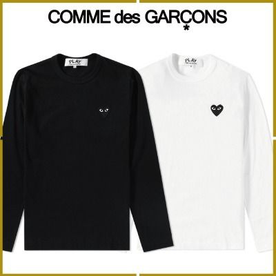 COMME des GARCONS Crew Neck Pullovers Heart Long Sleeves Plain Cotton