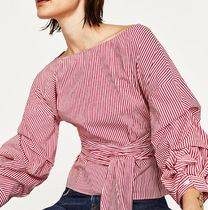 ZARA Stripes Cotton Medium Puff Sleeves Shirts & Blouses