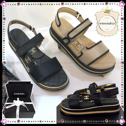 CHANEL ICON Casual Style Sport Sandals Flat Sandals