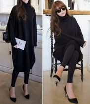 Wool Long Sleeves High-Neck Dresses
