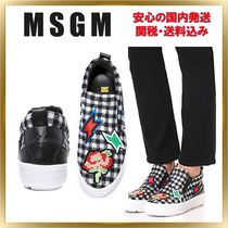 MSGM Other Check Patterns Casual Style Blended Fabrics Leather