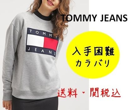 Tommy Hilfiger Crew Neck Casual Style Street Style Long Sleeves Cotton