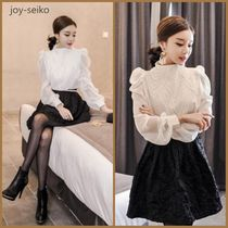 High-Neck Office Style Puff Sleeves Shirts & Blouses