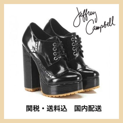 Jeffrey Campbell Round Toe Lace-up Casual Style Plain Leather Chunky Heels
