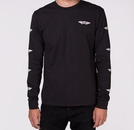 Street Style U-Neck Long Sleeves Cotton Logos on the Sleeves