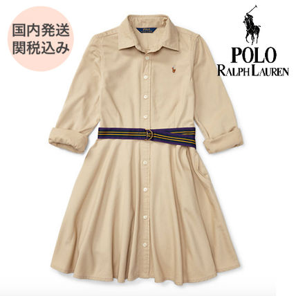 Ralph Lauren Casual Style Flared Long Sleeves Plain Cotton Dresses
