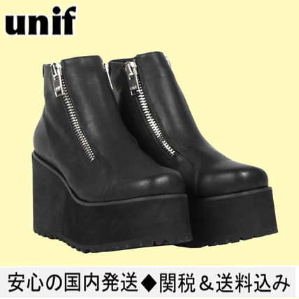 UNIF Clothing Rubber Sole Casual Style Leather Loafer Pumps & Mules