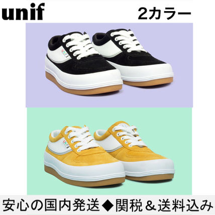 UNIF Clothing Round Toe Lace-up Casual Style Street Style Plain Leather