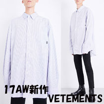 VETEMENTS Button-down Stripes Street Style Long Sleeves Cotton Shirts