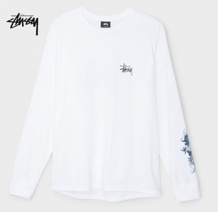 STUSSY Street Style Long Sleeves Cotton Logos on the Sleeves