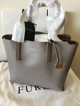 FURLA SALLY A4 Plain Leather Office Style Totes