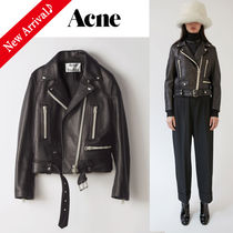 Acne Short Studded Plain Leather Elegant Style Biker Jackets