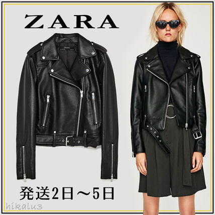 ZARA Casual Style Faux Fur Plain Medium Biker Jackets