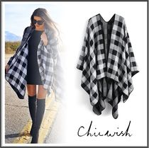 Chicwish Other Check Patterns Wool Medium Oversized Ponchos & Capes