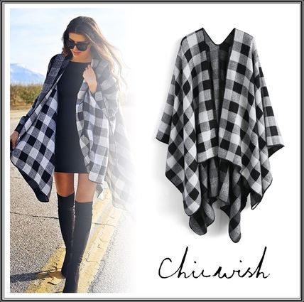 Chicwish Ponchos & Capes Other Check Patterns Wool Medium Oversized Ponchos & Capes