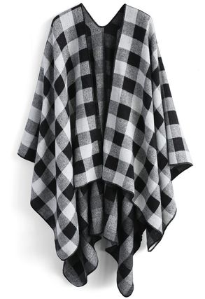 Chicwish Ponchos & Capes Other Check Patterns Wool Medium Oversized Ponchos & Capes 2