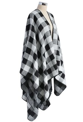 Chicwish Ponchos & Capes Other Check Patterns Wool Medium Oversized Ponchos & Capes 4