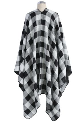 Chicwish Ponchos & Capes Other Check Patterns Wool Medium Oversized Ponchos & Capes 5