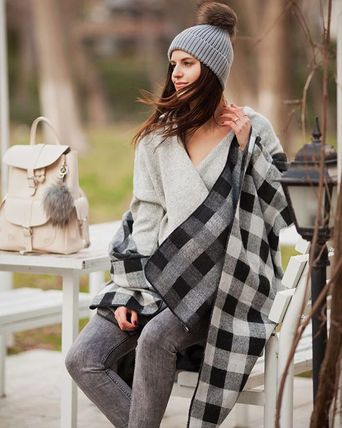 Chicwish Ponchos & Capes Other Check Patterns Wool Medium Oversized Ponchos & Capes 7