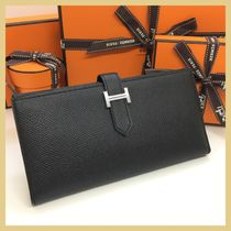 HERMES Bearn Plain Leather Long Wallets