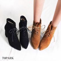 Lace-up Casual Style Suede Street Style Plain Chunky Heels