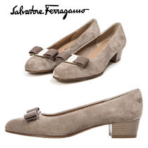 Salvatore Ferragamo Round Toe Suede Plain Block Heels Office Style