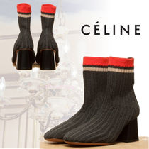 CELINE Stripes Round Toe Casual Style Block Heels
