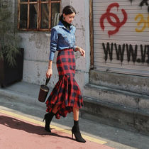 Flared Skirts Tartan Other Check Patterns Casual Style