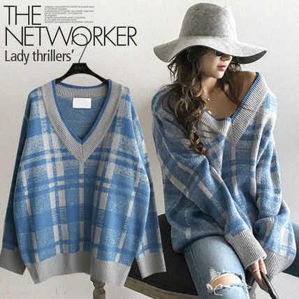 NANING9 Other Check Patterns Casual Style V-Neck Long Oversized