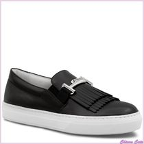 TOD'S Rubber Sole Casual Style Plain Leather Low-Top Sneakers
